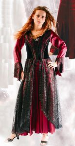 Velvet Dress~Bohemian Velvet,Satin & Laced Full Length Gothic Dress~ By Bares-Fashion X-80-1076